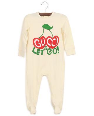 Strampelanzug aus Jersey mit Print Let's Go Gucci Cherries GUCCI