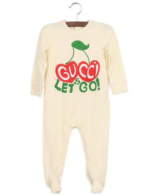 Let's Go Gucci Cherries printed jersey all-in-one GUCCI