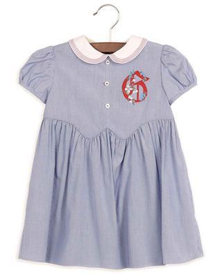 Babykleid aus Popeline mit Vichykaros und G-Detail GUCCI