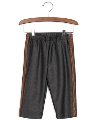 Web embroidered baby trousers in flannel GUCCI