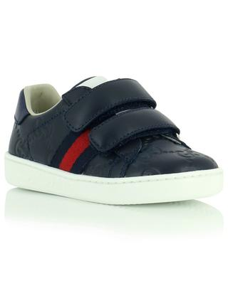 Hook-and-loop fastening leather sneakers GUCCI