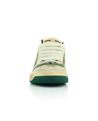 Leather and fabric lace sneakers GUCCI