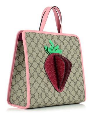 3-D Strawberry GG Supreme canvas tote bag GUCCI
