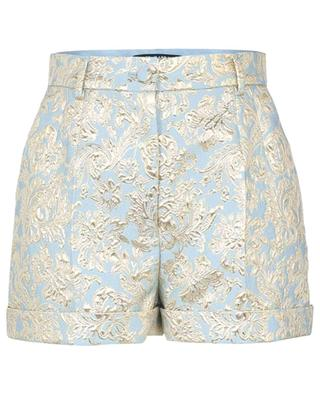 Shorts mit hoher Taille aus blau-goldenem Jacquard DOLCE & GABBANA