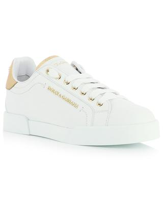 Portofino Light white leather low-top lace-up sneakers with golden accents DOLCE & GABBANA