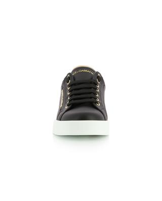 Portofino Light black leather low-top lace-up sneakers with golden accents DOLCE & GABBANA