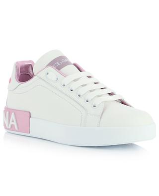 Portofino white and metallic pink leather low-top lace-up shoes DOLCE & GABBANA