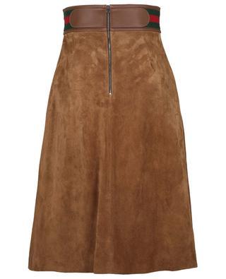 Jupe trapèze en daim avec ceinture en cuir et bande Web GUCCI