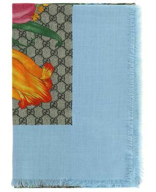 Grand foulard carré en laine et soie GG Flora GUCCI
