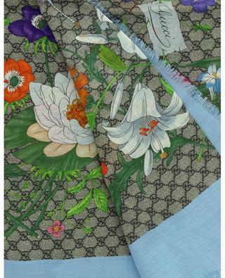 Grosses quadratisches Halstuch aus Wolle und Seide GG Flora GUCCI