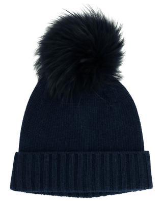 Mütze mit Bommel aus echtem Marderhundfell NIMA