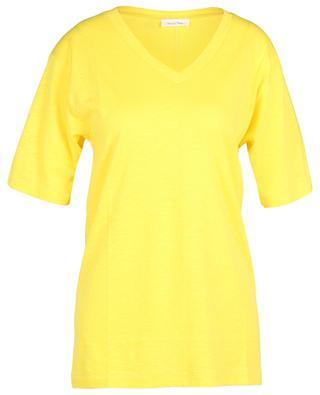 T-shirt à col V en coton et lin mélangés Comiwood AMERICAN VINTAGE