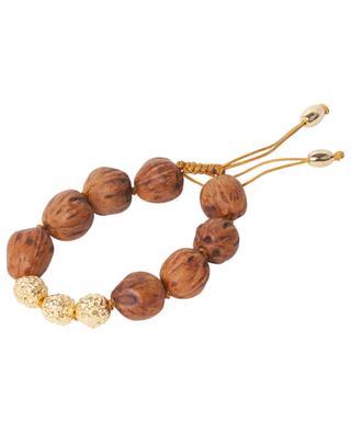 Lumia Resort II wood bead and golden bead cord bracelet TOHUM