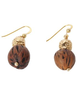 Lumia Resort golden metal and wood drop earrings - 3 cm TOHUM