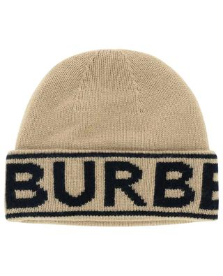 Logo Intarsia cashmere hat with lapel BURBERRY