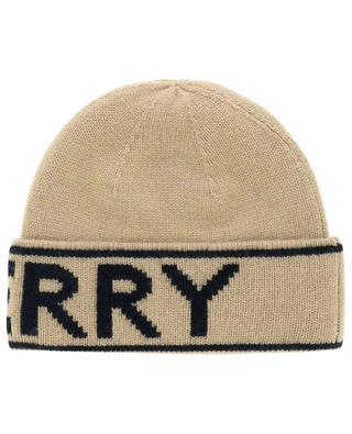 Bonnet en cachemire à revers Logo Intarsia BURBERRY