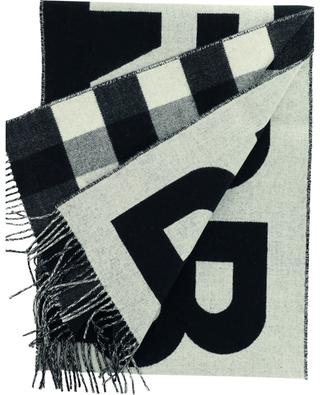 Check and Logo reversible cashmere scarf BURBERRY