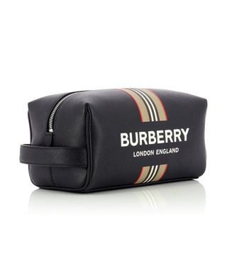 Logo and Icon Stripe leather toiletry bag BURBERRY