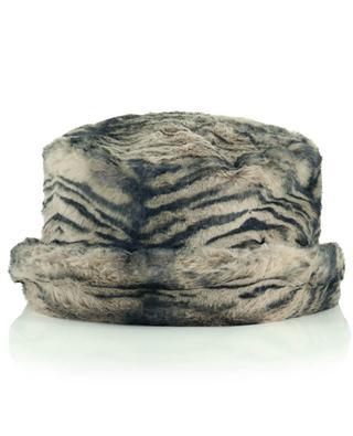 Tiger patterned faux fur cloche hat GI'N'GI