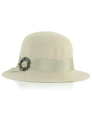Cream white felt hat with jewel GI'N'GI