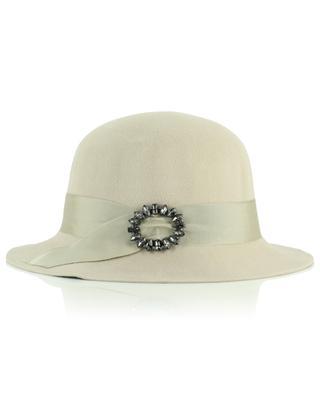 Chapeau blanc crème en feutre avec ornement GI'N'GI