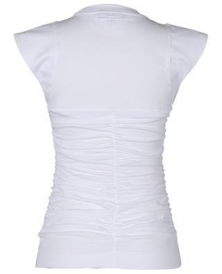 Gerafftes schmales T-Shirt aus Biobaumwolle GANNI