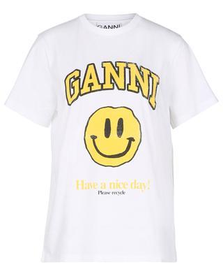 T-Shirt aus Biobaumwolle mit Print Have a Nice Day! GANNI