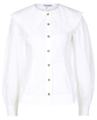 Fitted poplin shirt with large collar GANNI