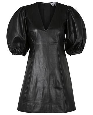 Mini dress with puff sleeves in lambskin GANNI