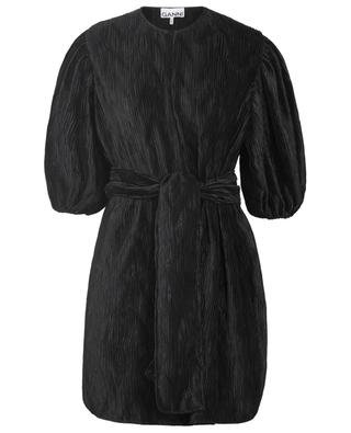 Pleated satin mini dress with balloon sleeves GANNI