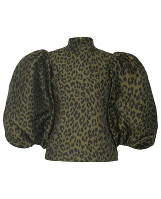 Jacquard-Bluse mit Leopardenmotiv und Ballonärmeln GANNI