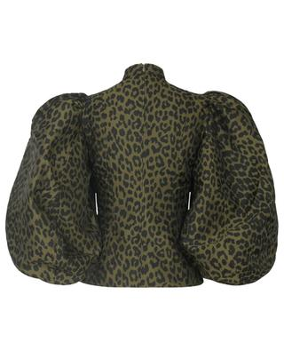 Blouse jacquard motif leopard à manches ballon GANNI