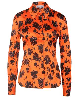 Cinched shirt in floral satin GANNI