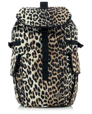 Leopard print backpack made from recycled textile fibres GANNI