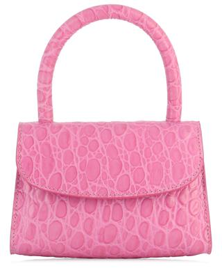Shopper aus Leder in Kroko-Optik Mini Circular Fuchsia BY FAR