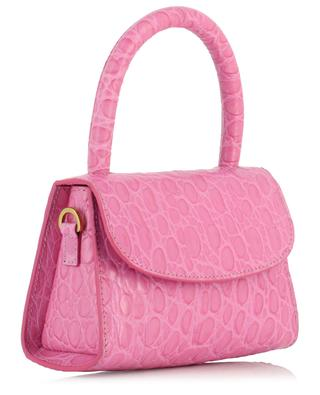 Mini Circular Fuchsia croc embossed leather tote bag BY FAR