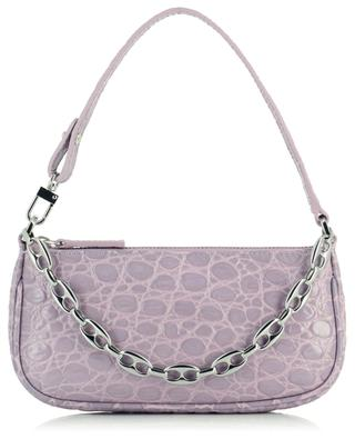 Mini Rachel Lilac croco embossed leather handbag BY FAR