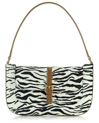 Miranda Khaki And Zebra leather and pony hair handbag BY FAR