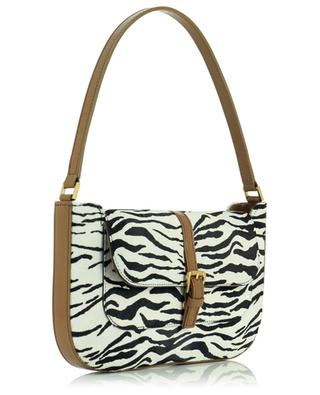 Miranda Khaki And Zebra leather and pony hair handbag BY FAR