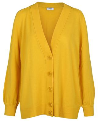 Button-down oversize V-neck cardigan in wool and cashmere AKRIS PUNTO