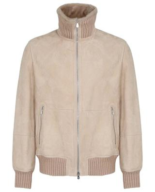 Suede and shearling bomber jacket with standing collar BRUNELLO CUCINELLI