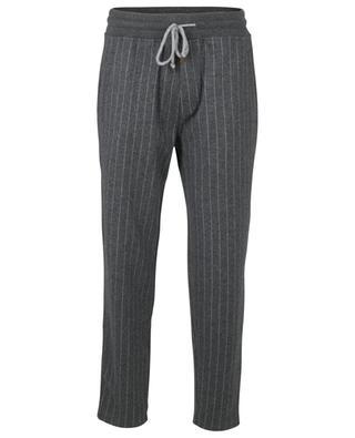 Pantalon de jogging rayé en cachemire et coton BRUNELLO CUCINELLI