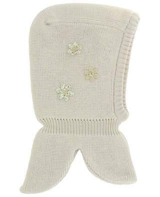 Flower application virgin wool knit cowl IL TRENINO