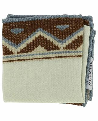 Wool pocket square with abstract border BRUNELLO CUCINELLI