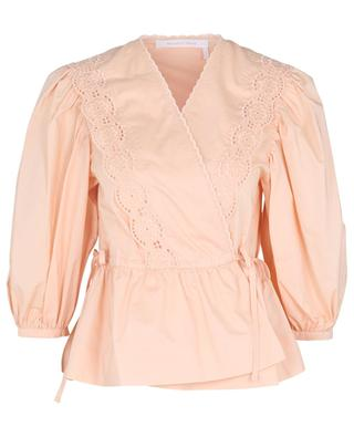 Wrap blouse in poplin adorned with openwork embroideries SEE BY CHLOE