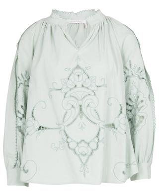 Openwork stitching embellished cotton blouse SEE BY CHLOE