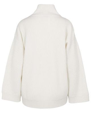 Monile embroidered boxy rib knit mock neck cashmere jumper BRUNELLO CUCINELLI
