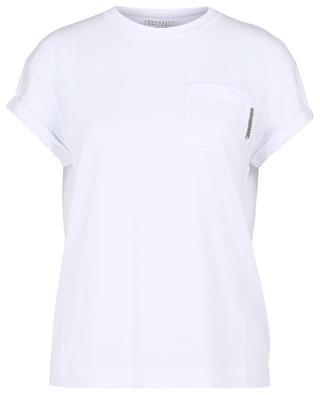 T-Shirt aus Jersey mit Monile-bestickter Brusttasche BRUNELLO CUCINELLI