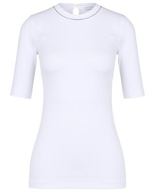 Figurbetontes geripptes T-Shirt mit Monile-besticktem Rundhals BRUNELLO CUCINELLI