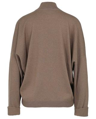 Boxy cashmere jumper with mock collar and rolles sleeves BRUNELLO CUCINELLI